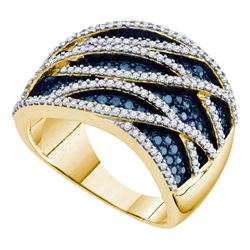 1.34 CTW Blue Color Diamond Fashion Ring 10KT Yellow Gold - REF-87W2K