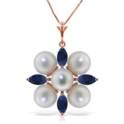 Genuine 6.3 ctw Sapphire & Pearl Necklace Jewelry 14KT Rose Gold - REF-63H4X