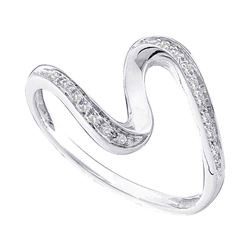 0.05 CTW Diamond S Curve Ring 10KT White Gold - REF-7Y4X
