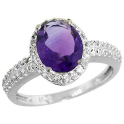 Natural 1.91 ctw Amethyst & Diamond Engagement Ring 10K White Gold - REF-31R7Z