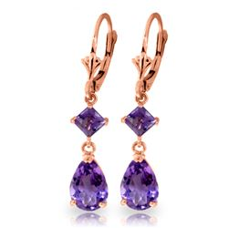 Genuine 4.5 ctw Amethyst Earrings Jewelry 14KT Rose Gold - REF-41N4R