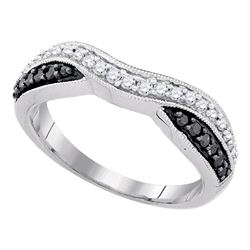 0.33 CTW Black Color Pave-set Diamond Ring 10KT White Gold - REF-22K4W