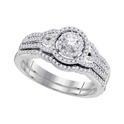0.50 CTW Diamond Bridal Wedding Engagement Ring 10KT White Gold - REF-57F2N