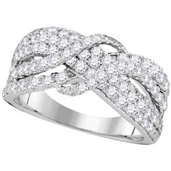 1.51 CTW Pave-set Diamond Crossover Strand Ring 14KT White Gold - REF-139Y5X