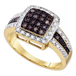 0.50 CTW Brown Color Diamond Cluster Ring 14KT Yellow Gold - REF-46N4F