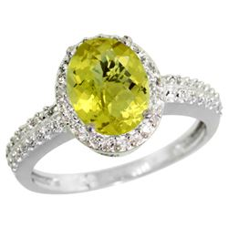 Natural 1.91 ctw Lemon-quartz & Diamond Engagement Ring 10K White Gold - REF-31W4K
