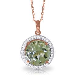 Genuine 5.2 ctw Green Amethyst & Diamond Necklace Jewelry 14KT Rose Gold - REF-70F6Z