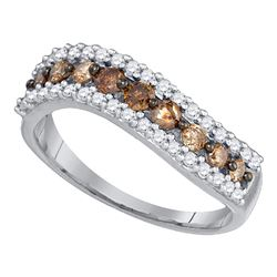 0.77 CTW Cognac-brown Color Diamond Ring 10KT White Gold - REF-24K2W