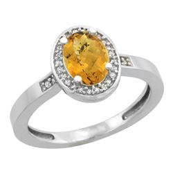 Natural 1.08 ctw Whisky-quartz & Diamond Engagement Ring 10K White Gold - REF-25R2Z