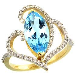 Natural 3.33 ctw Swiss-blue-topaz & Diamond Engagement Ring 14K Yellow Gold - REF-77X5A