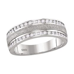 0.50 CTW Mens Diamond Grecco Wedding Anniversary Ring 14k White Gold - REF-82K4W