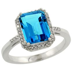 Natural 2.63 ctw Swiss-blue-topaz & Diamond Engagement Ring 14K White Gold - REF-42X8A