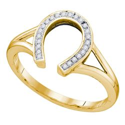 0.07 CTW Diamond Horseshoe Lucky Ring 10KT Yellow Gold - REF-14N9F