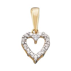 0.01 CTW Diamond Heart Love Pendant 10KT Yellow Gold - REF-4X5Y