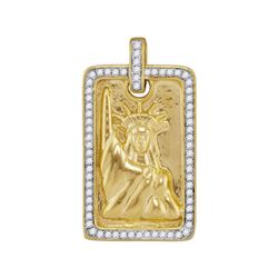 0.35 CTW Mens Diamond Liberty Statue Pendant 10KT Yellow Gold - REF-52W4K