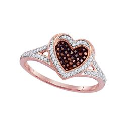 0.20 CTW Red Color Diamond Heart Love Ring 10KT Rose Gold - REF-25Y4X