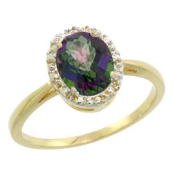 Natural 1.22 ctw Mystic-topaz & Diamond Engagement Ring 14K Yellow Gold - REF-27M2H