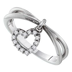 0.10 CTW Diamond Heart Dangle Ring 14KT White Gold - REF-26X3Y