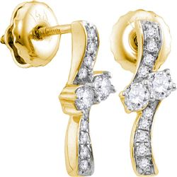 0.25 CTW Diamond 2-stone Hearts Together Stud Earrings 14KT Yellow Gold - REF-30W2K