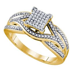 0.33 CTW Diamond Square Cluster Ring 10KT Yellow Gold - REF-44N9F