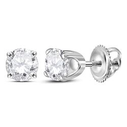 0.65 CTW Diamond Solitaire Stud Earrings 14KT White Gold - REF-63Y8X