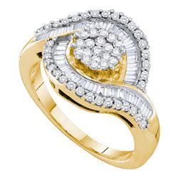 1 CTW Diamond Flower Cluster Ring 14KT Yellow Gold - REF-94Y4X