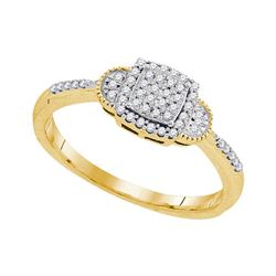 0.18 CTW Diamond Square Cluster Ring 10KT Yellow Gold - REF-22W4K
