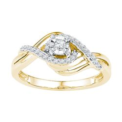 0.21 CTW Diamond Solitaire Bridal Engagement Ring 10KT Yellow Gold - REF-25Y4X