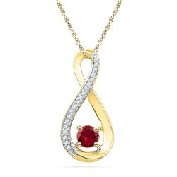 0.61 CTW Created Ruby Diamond Fashion Pendant 10KT Yellow Gold - REF-13W4K