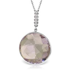 Genuine 18.08 ctw Amethyst & Diamond Necklace Jewelry 14KT White Gold - REF-65M8T