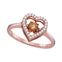 0.38 CTW Cognac-brown Color Diamond Moving Twinkle Solitaire Ring 10KT Rose Gold - REF-44H9M