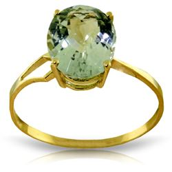 Genuine 2.2 ctw Green Amethyst Ring Jewelry 14KT Yellow Gold - REF-27V8W