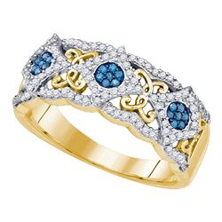 0.40 CTW Blue Color Diamond Cluster Filigree Ring 10KT Yellow Gold - REF-31M4H