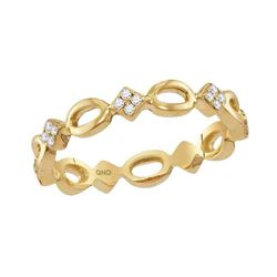 0.14 CTW Diamond Square Cluster Stackable Ring 10KT Yellow Gold - REF-19W4K