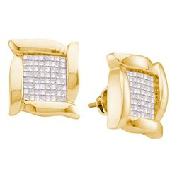 0.98 CTW Princess Diamond Square Cluster Stud Earrings 14KT Yellow Gold - REF-52X4Y