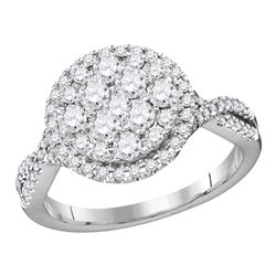 1.02 CTW Diamond Cluster Bridal Engagement Ring 14KT White Gold - REF-104Y9X