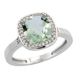 Natural 3.94 ctw Green-amethyst & Diamond Engagement Ring 14K White Gold - REF-38Z3Y