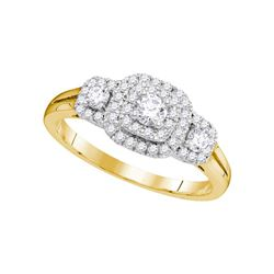 0.51 CTW Diamond Solitaire Double Halo Bridal Engagement Ring 14KT Yellow Gold - REF-71H3M