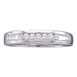 0.25 CTW Mens Channel-set Diamond Single Row Wedding Ring 14KT White Gold - REF-41W9K