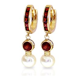Genuine 4.3 ctw Garnet & Pearl Earrings Jewelry 14KT Yellow Gold - REF-47W5Y