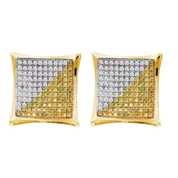 0.50 CTW Mens Yellow Color Diamond Square Kite Earrings 10KT Yellow Gold - REF-19N4F