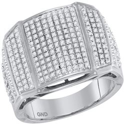 0.74 CTW Mens Diamond Arched Cluster Ring 10KT White Gold - REF-75Y2X