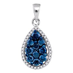 0.81 CTW Blue Color Diamond Teardrop Cluster Pendant 10KT White Gold - REF-32K9W