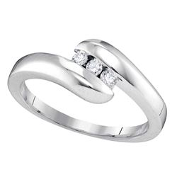 0.12 CTW Diamond 3-stone Promise Bridal Ring 10KT White Gold - REF-22H4M