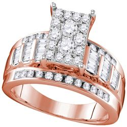 0.92 CTW Diamond Cluster Bridal Engagement Ring 10KT Rose Gold - REF-67M4H