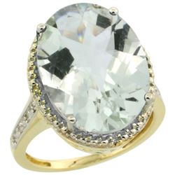 Natural 13.6 ctw Green-amethyst & Diamond Engagement Ring 10K Yellow Gold - REF-59Z2Y