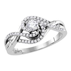 0.50 CTW Diamond Solitaire Swirl Crossover Bridal Ring 14KT White Gold - REF-71H3M