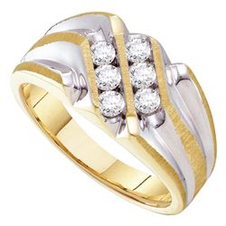 0.50 CTW Mens Diamond Double Row Two-tone Ridged Ring 10KT Yellow Gold - REF-57F2N