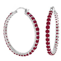 Genuine 6 ctw Ruby Earrings Jewelry 14KT White Gold - REF-125P6H