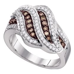 0.50 CTW Cognac-brown Color Diamond Ring 10KT White Gold - REF-37K5W